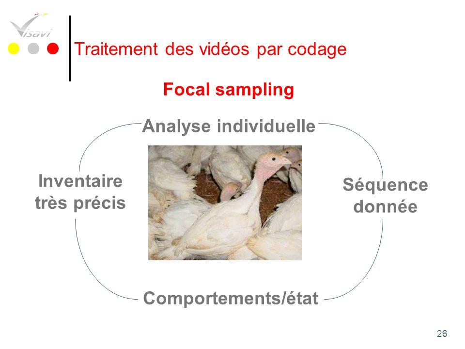 26 Traitement des vidéos par codage Comportements/état Analyse individuelle Séquence donnée Focal sampling Inventaire très précis