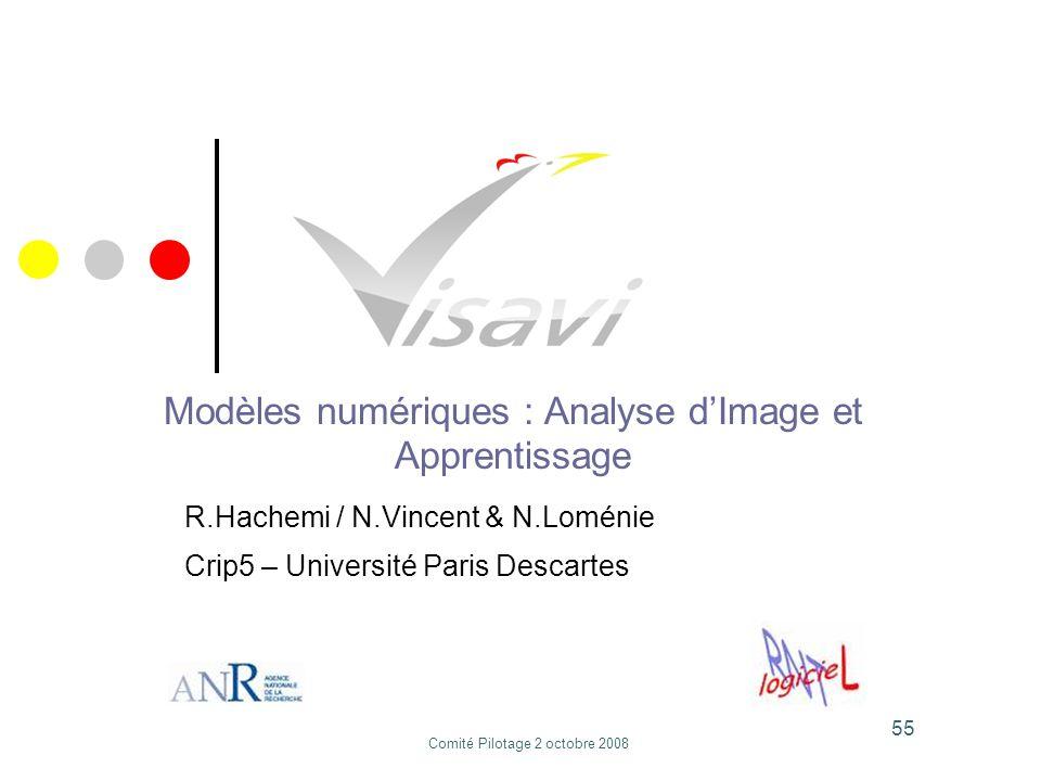 55 Modèles numériques : Analyse dImage et Apprentissage R.Hachemi / N.Vincent & N.Loménie Crip5 – Université Paris Descartes