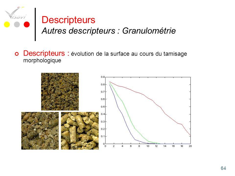 64 Descripteurs : évolution de la surface au cours du tamisage morphologique Descripteurs Autres descripteurs : Granulométrie