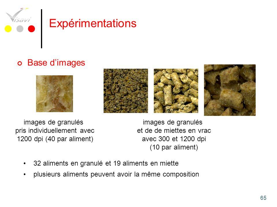 65 Expérimentations Base dimages images de granulés pris individuellement avec 1200 dpi (40 par aliment) images de granulés et de de miettes en vrac a