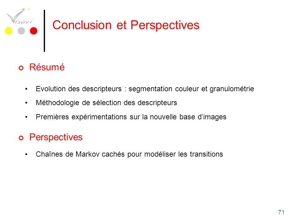71 Conclusion et Perspectives Evolution des descripteurs : segmentation couleur et granulométrie Méthodologie de sélection des descripteurs Premières