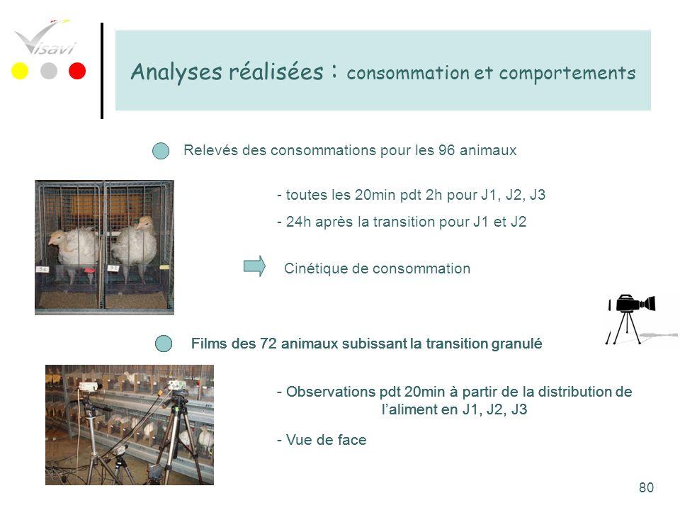 80 Analyses réalisées : consommation et comportements Relevés des consommations pour les 96 animaux Cinétique de consommation - Observations pdt 20min