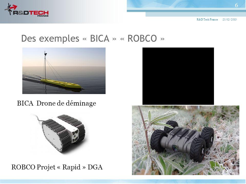21/02//2013R&D Tech France 6 Des exemples « BICA » « ROBCO » ROBCO Projet « Rapid » DGA BICA Drone de déminage
