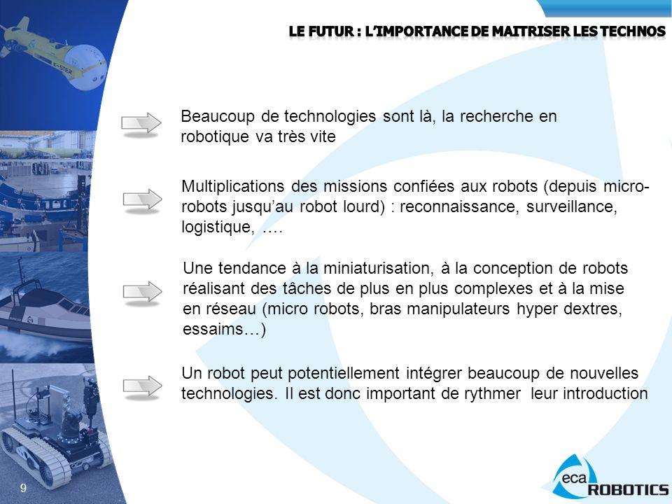 9 Beaucoup de technologies sont là, la recherche en robotique va très vite Multiplications des missions confiées aux robots (depuis micro- robots jusq