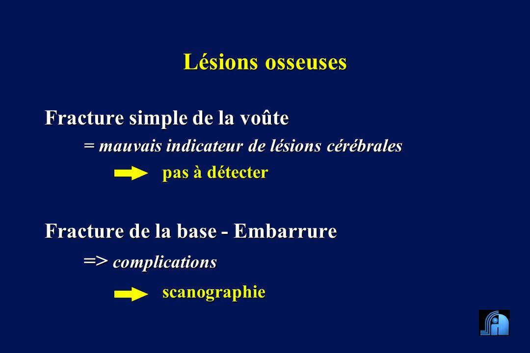 Lésions osseuses Fracture simple de la voûte = mauvais indicateur de lésions cérébrales pas à détecter Fracture de la base - Embarrure => complications scanographie