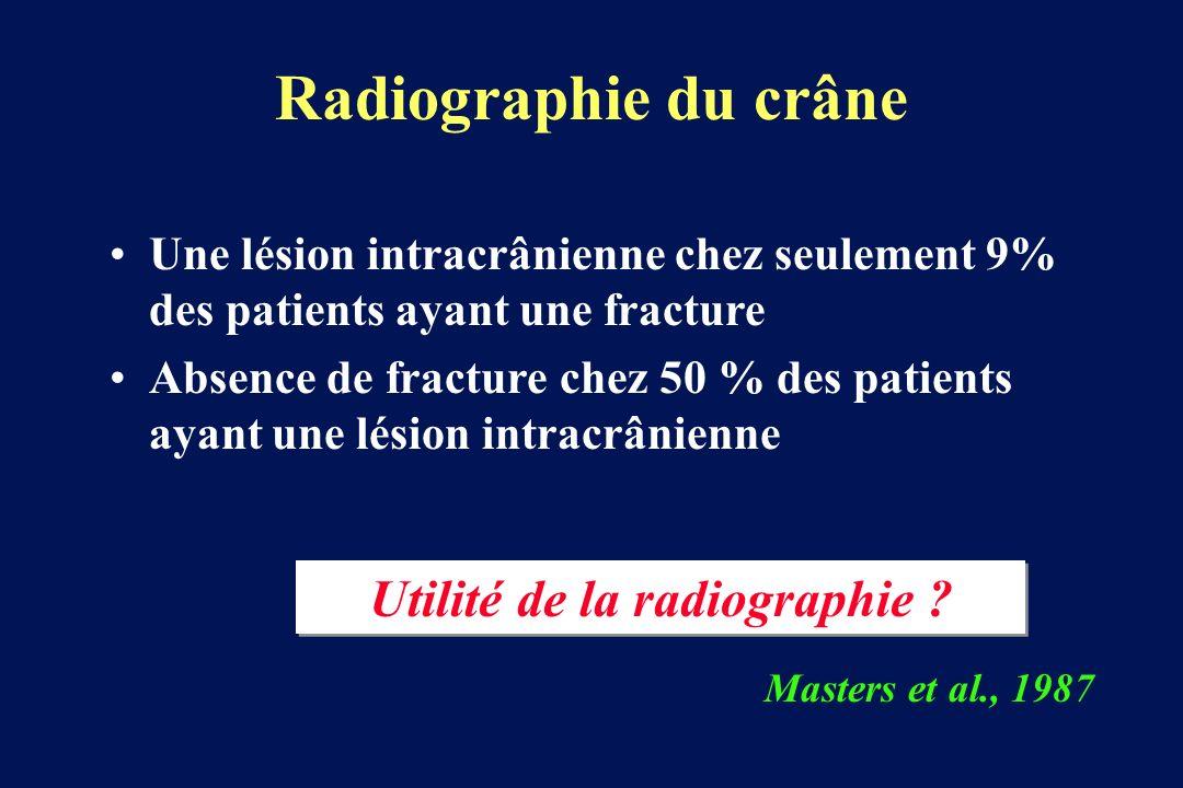 Radiographie du crâne Une lésion intracrânienne chez seulement 9% des patients ayant une fracture Absence de fracture chez 50 % des patients ayant une lésion intracrânienne Masters et al., 1987 Utilité de la radiographie ?
