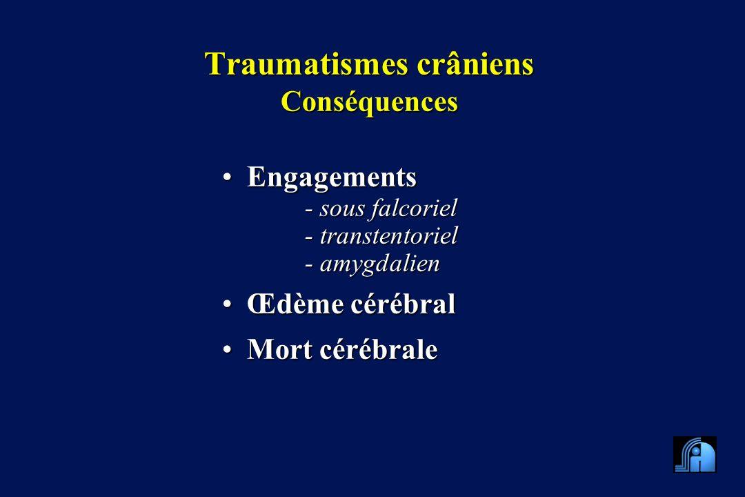Traumatismes crâniens Conséquences EngagementsEngagements - sous falcoriel - transtentoriel - amygdalien Œdème cérébralŒdème cérébral Mort cérébraleMort cérébrale