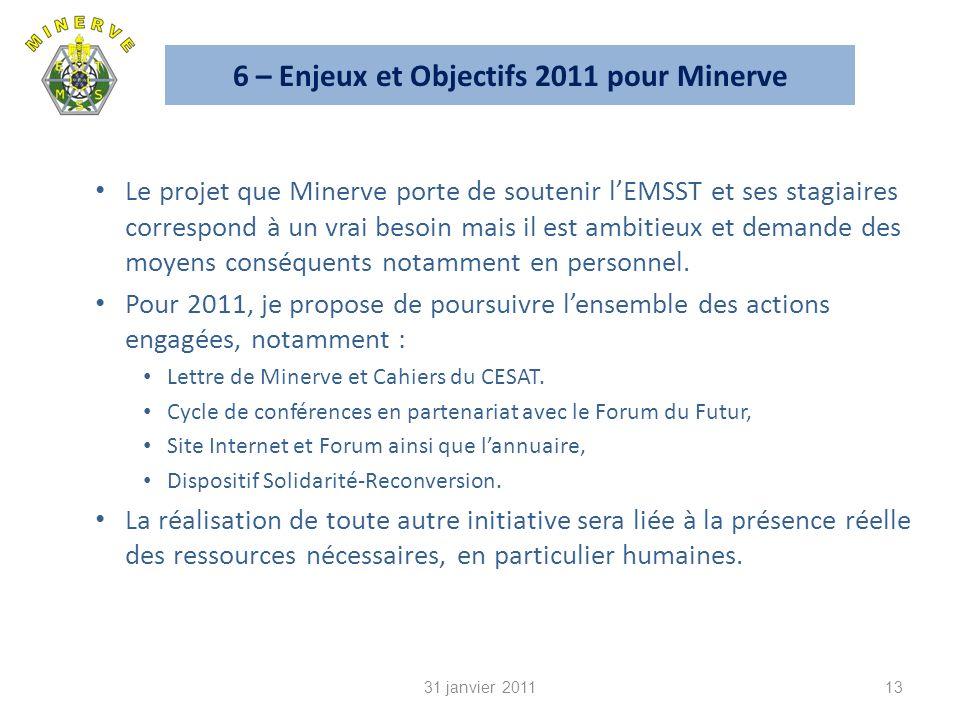 6 – Enjeux et Objectifs 2011 pour Minerve Le projet que Minerve porte de soutenir lEMSST et ses stagiaires correspond à un vrai besoin mais il est ambitieux et demande des moyens conséquents notamment en personnel.