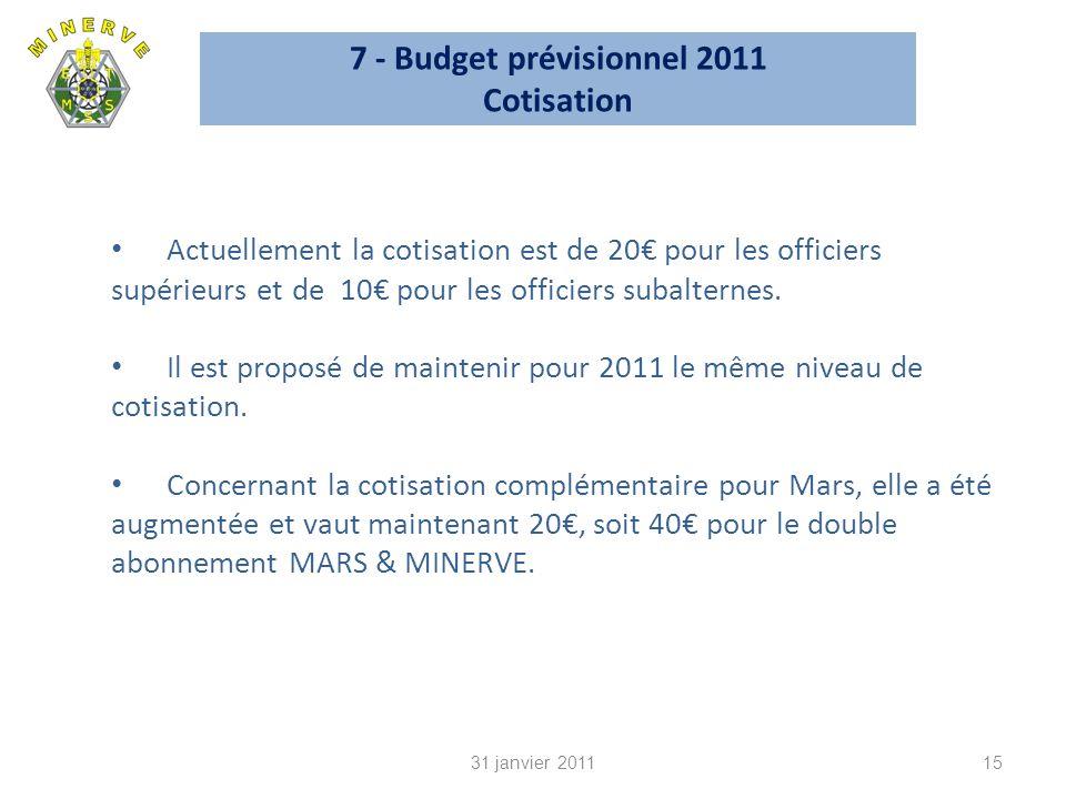 7 - Budget prévisionnel 2011 Cotisation 15 Actuellement la cotisation est de 20 pour les officiers supérieurs et de 10 pour les officiers subalternes.