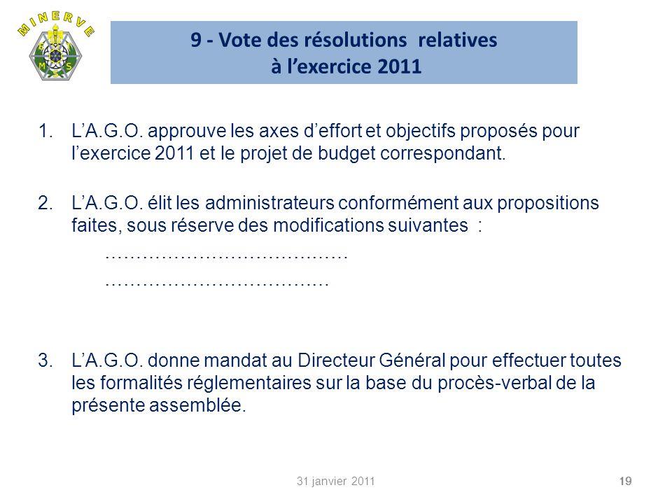 9 - Vote des résolutions relatives à lexercice 2011 1.LA.G.O.