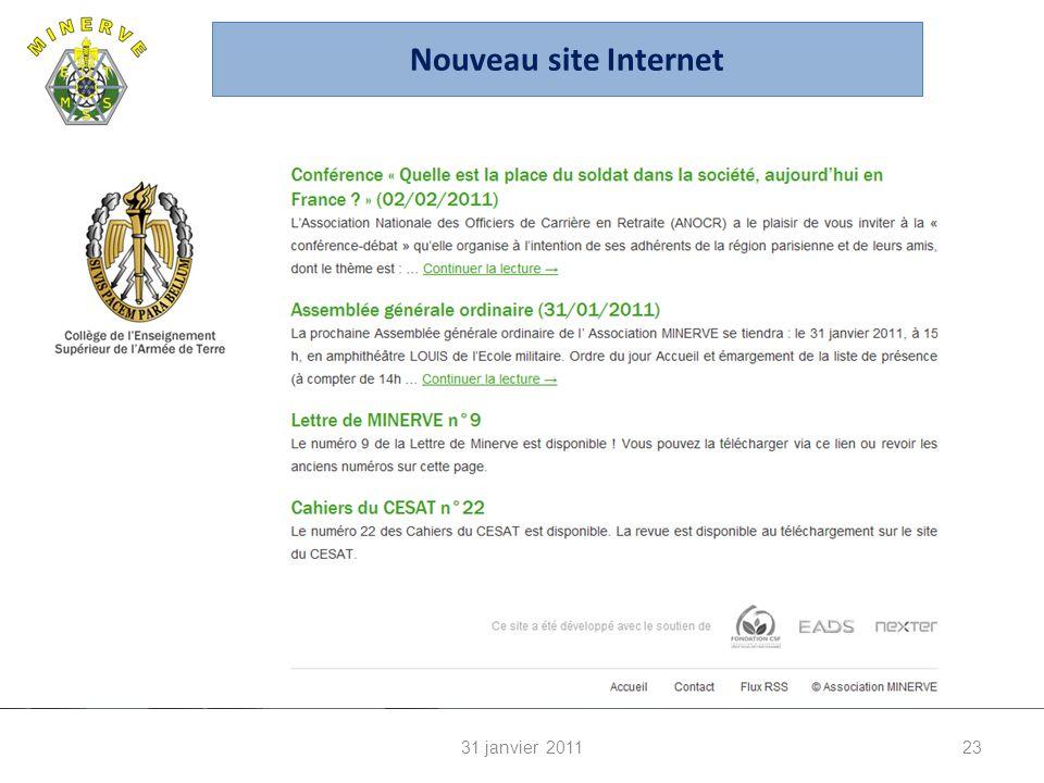 31 janvier 201123 Nouveau site Internet