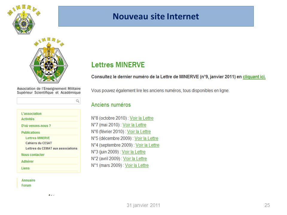 31 janvier 201125 Nouveau site Internet