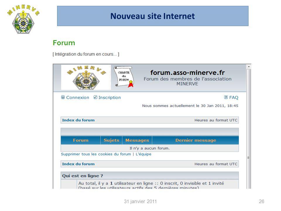 31 janvier 201126 Nouveau site Internet