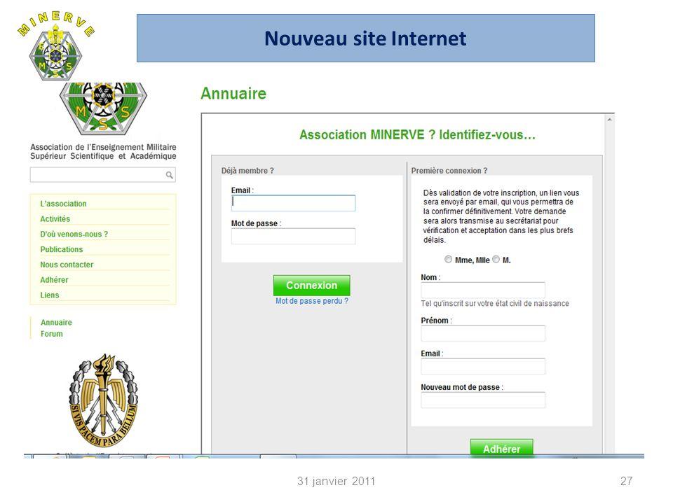 31 janvier 201127 Nouveau site Internet