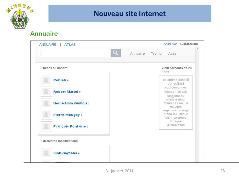 31 janvier 201128 Nouveau site Internet