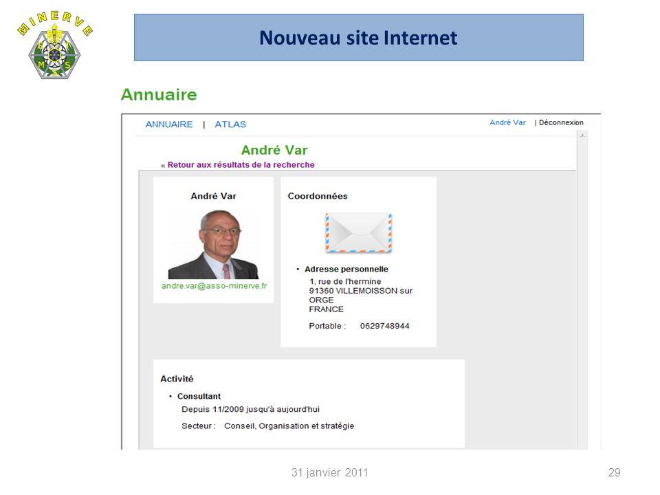 31 janvier 201129 Nouveau site Internet