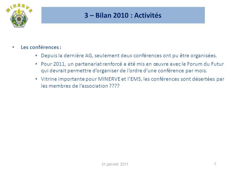 3 – Bilan 2010 : Activités Les conférences : Depuis la dernière AG, seulement deux conférences ont pu être organisées.