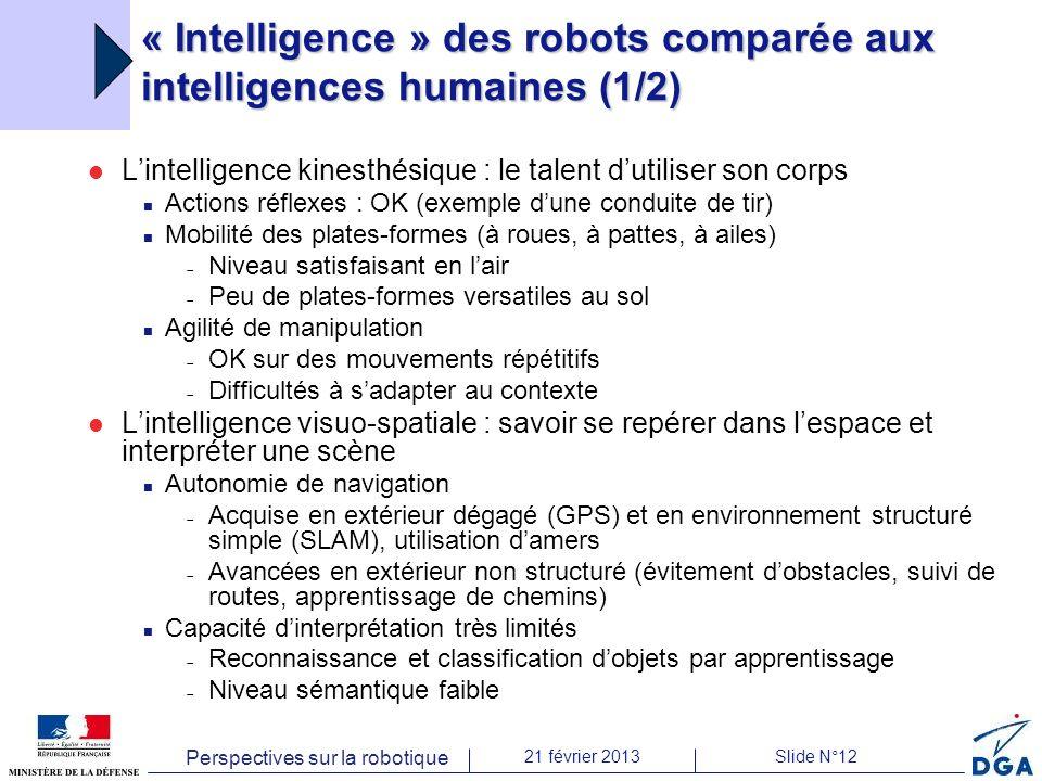 Perspectives sur la robotique 21 février 2013Slide N°12 « Intelligence » des robots comparée aux intelligences humaines (1/2) Lintelligence kinesthési