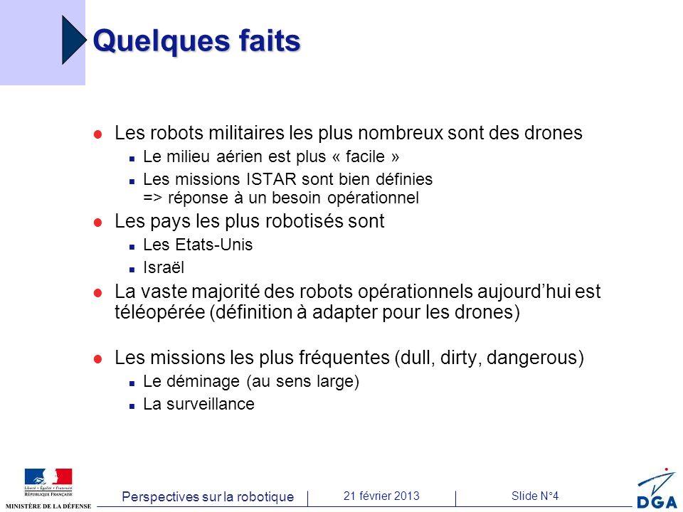 Perspectives sur la robotique 21 février 2013Slide N°4 Quelques faits Les robots militaires les plus nombreux sont des drones Le milieu aérien est plu