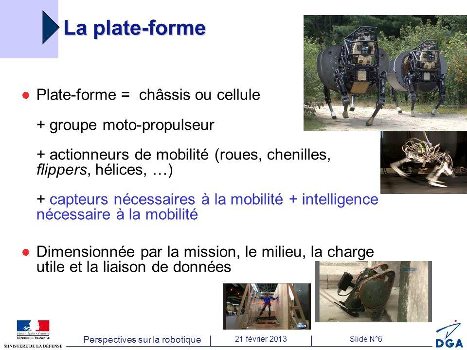 Perspectives sur la robotique 21 février 2013Slide N°6 La plate-forme Plate-forme = châssis ou cellule + groupe moto-propulseur + actionneurs de mobil
