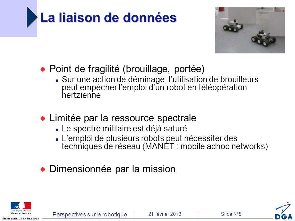 Perspectives sur la robotique 21 février 2013Slide N°8 La liaison de données Point de fragilité (brouillage, portée) Sur une action de déminage, lutil