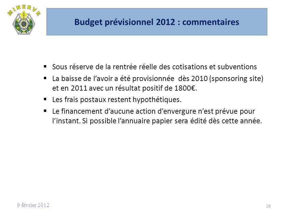 Budget prévisionnel 2012 : commentaires Sous réserve de la rentrée réelle des cotisations et subventions La baisse de lavoir a été provisionnée dès 2010 (sponsoring site) et en 2011 avec un résultat positif de 1800.