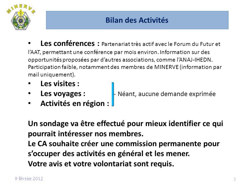 Bilan des Activités Les conférences : Partenariat très actif avec le Forum du Futur et lAAT, permettant une conférence par mois environ.