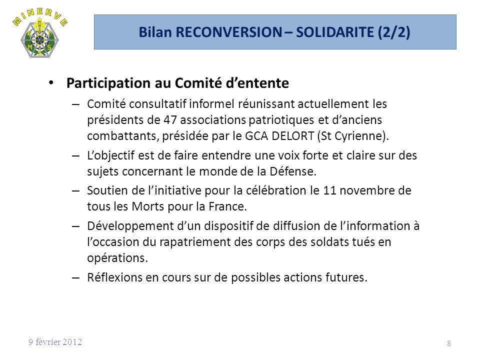 Bilan RECONVERSION – SOLIDARITE (2/2) Participation au Comité dentente – Comité consultatif informel réunissant actuellement les présidents de 47 associations patriotiques et danciens combattants, présidée par le GCA DELORT (St Cyrienne).