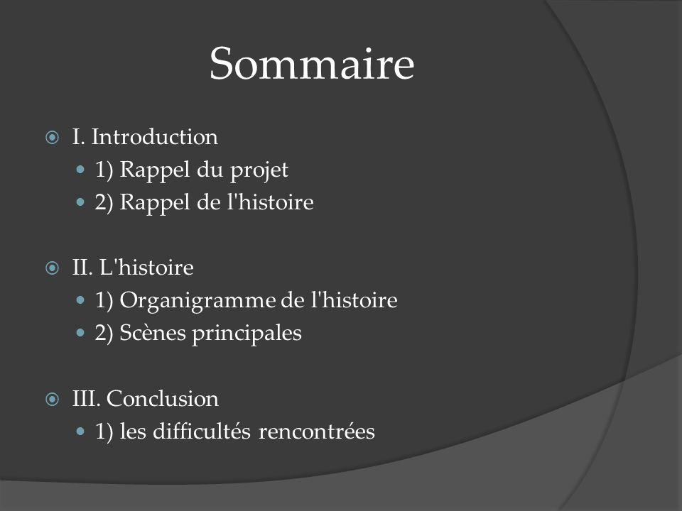 Sommaire I. Introduction 1) Rappel du projet 2) Rappel de l histoire II.