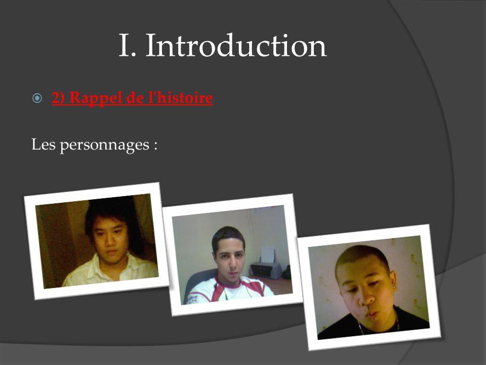 I. Introduction 2) Rappel de l'histoire Les personnages :