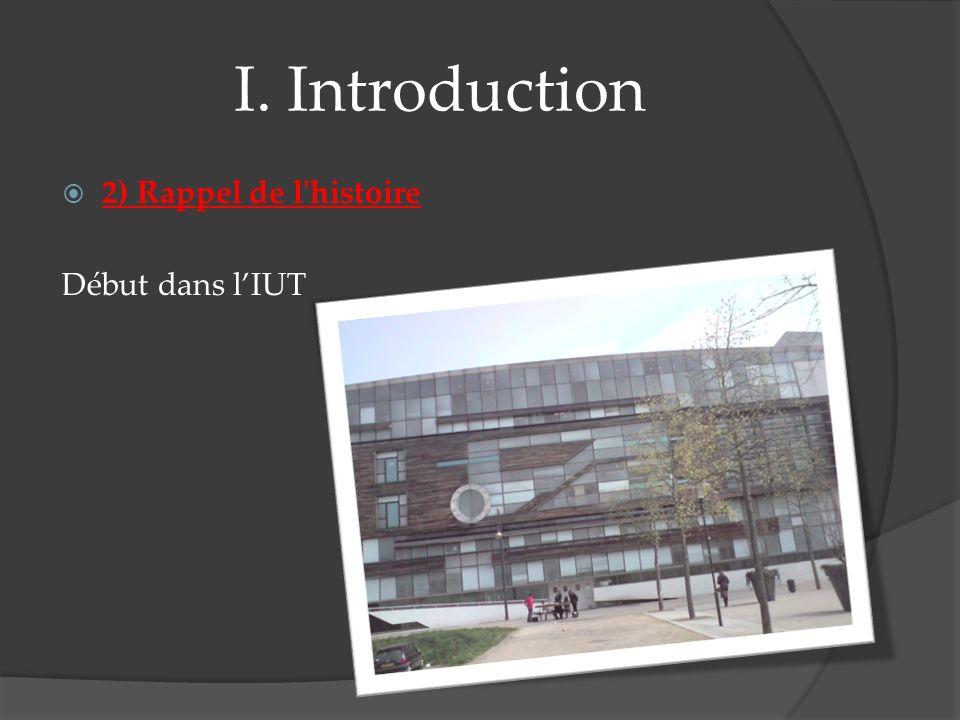 I. Introduction 2) Rappel de l'histoire Début dans lIUT