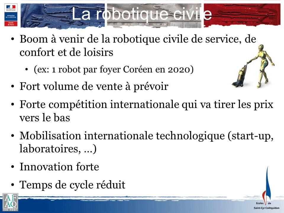 Boom à venir de la robotique civile de service, de confort et de loisirs (ex: 1 robot par foyer Coréen en 2020) Fort volume de vente à prévoir Forte c