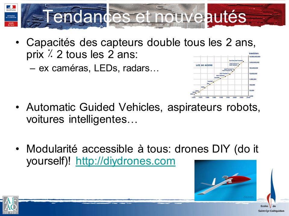 Tendances et nouveautés Capacités des capteurs double tous les 2 ans, prix ٪ 2 tous les 2 ans: –ex caméras, LEDs, radars… Automatic Guided Vehicles, a