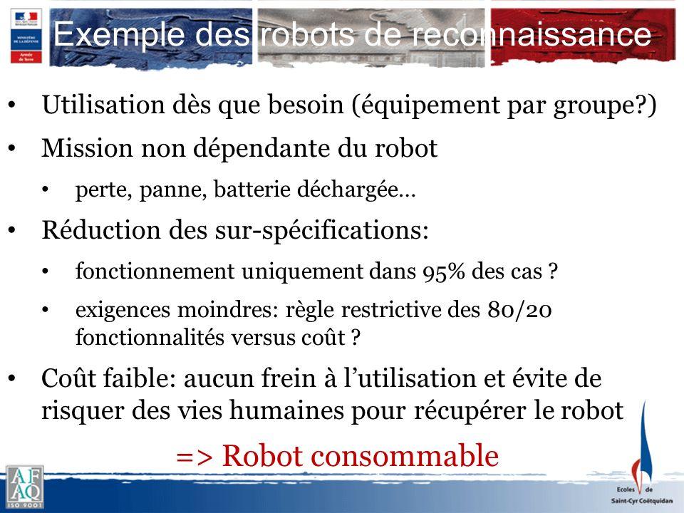 Exemple des robots de reconnaissance Utilisation dès que besoin (équipement par groupe?) Mission non dépendante du robot perte, panne, batterie déchar