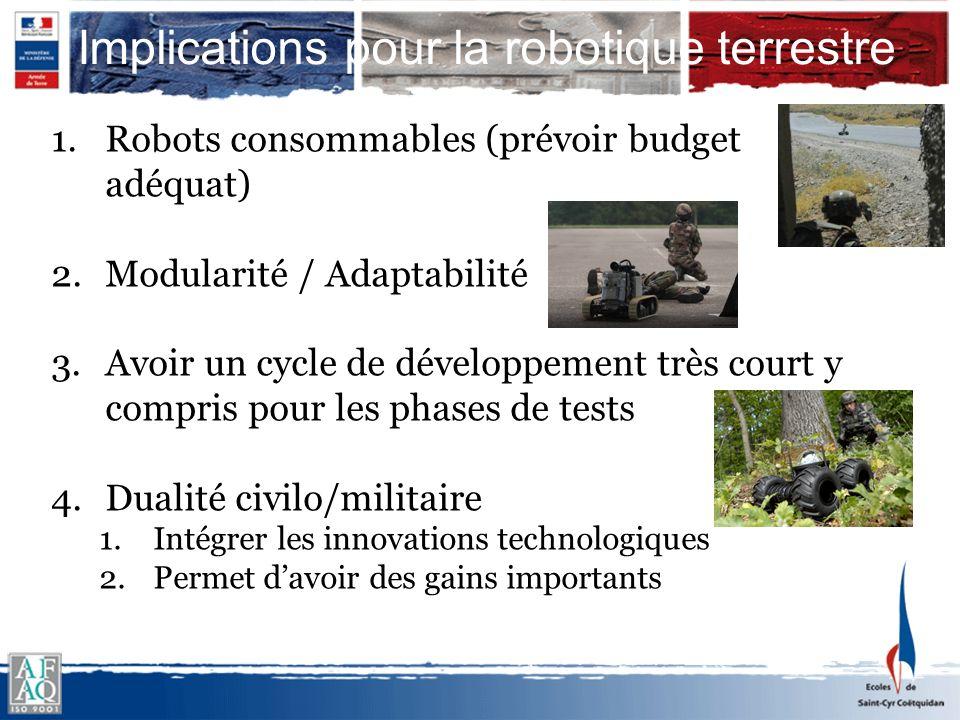 Implications pour la robotique terrestre 1.Robots consommables (prévoir budget adéquat) 2.Modularité / Adaptabilité 3.Avoir un cycle de développement