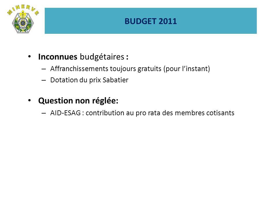 BUDGET 2011 Inconnues budgétaires : – Affranchissements toujours gratuits (pour linstant) – Dotation du prix Sabatier Question non réglée: – AID-ESAG : contribution au pro rata des membres cotisants