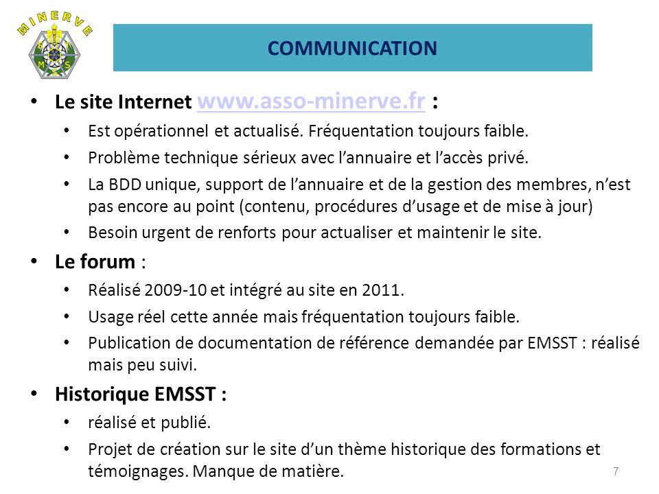 COMMUNICATION Le site Internet www.asso-minerve.fr : www.asso-minerve.fr Est opérationnel et actualisé. Fréquentation toujours faible. Problème techni