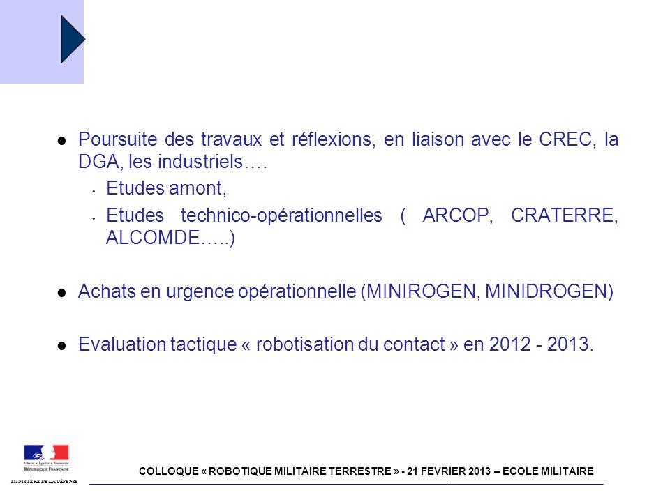 4 juillet 2011 Robotisation MINISTÈRE DE LA DÉFENSE Poursuite des travaux et réflexions, en liaison avec le CREC, la DGA, les industriels…. Etudes amo