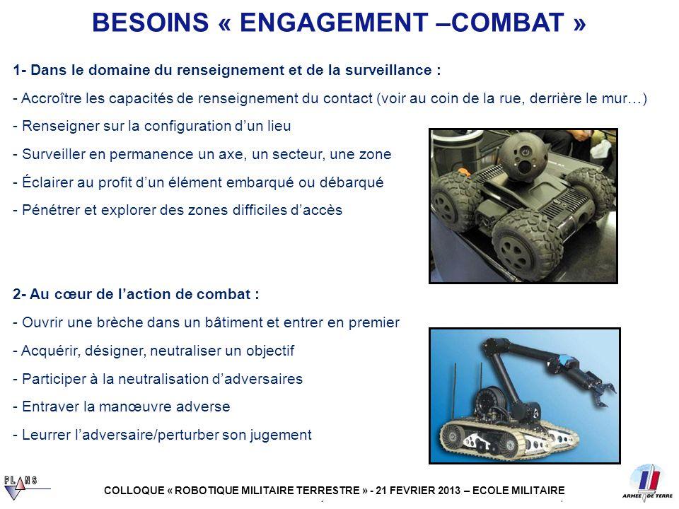 robotique 4 juillet 2011 3- En appui et en soutien du combattant : - Assurer laccompagnement/laide à lengagement des véhicules habités - Participer à lallègement du combattant et à son ravitaillement au contact 4- Dans le cadre de la préparation opérationnelle : - Participer à lentraînement du soldat BESOINS « ENGAGEMENT –COMBAT » COLLOQUE « ROBOTIQUE MILITAIRE TERRESTRE » - 21 FEVRIER 2013 – ECOLE MILITAIRE - Evacuer un blessé dune zone hostile