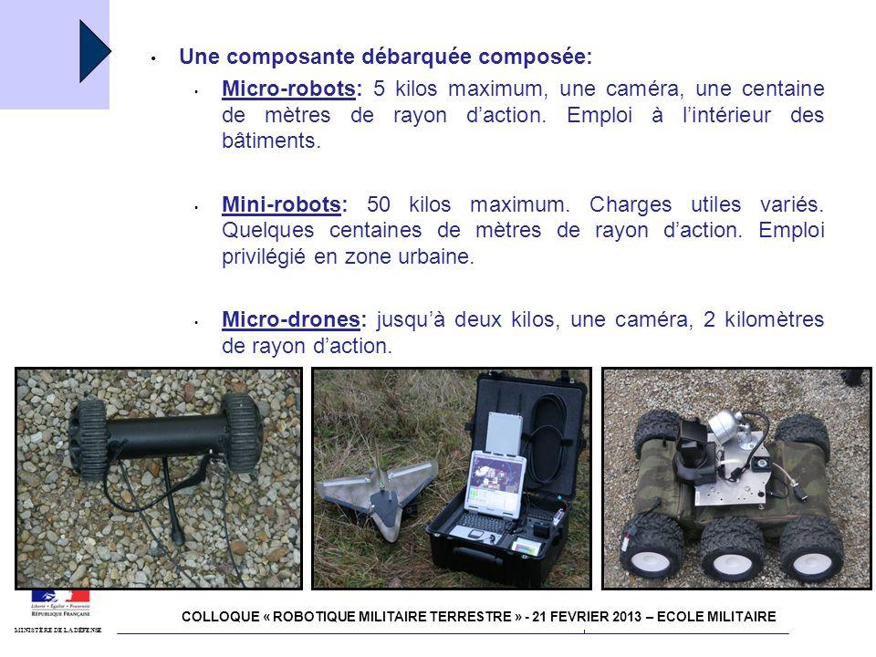 4 juillet 2011 Robotisation MINISTÈRE DE LA DÉFENSE Une composante embarquée composée: Mini-drones plus élaborés pour les unités dinvestigation, 4-5 kms de rayon daction, emploi à partir des véhicules.