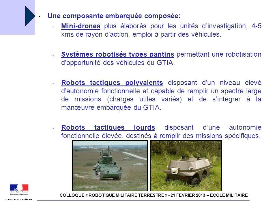 4 juillet 2011 Robotisation MINISTÈRE DE LA DÉFENSE 1/ Dans une approche globale, les moyens robotisés du contact participent à laccomplissement des missions du GTIA en sintégrant à la manœuvre.