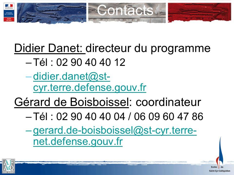 Contacts Didier Danet: directeur du programme –Tél : 02 90 40 40 12 –didier.danet@st- cyr.terre.defense.gouv.frdidier.danet@st- cyr.terre.defense.gouv