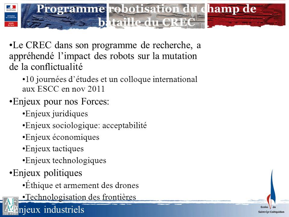 Programme robotisation du champ de bataille du CREC Le CREC dans son programme de recherche, a appréhendé limpact des robots sur la mutation de la con