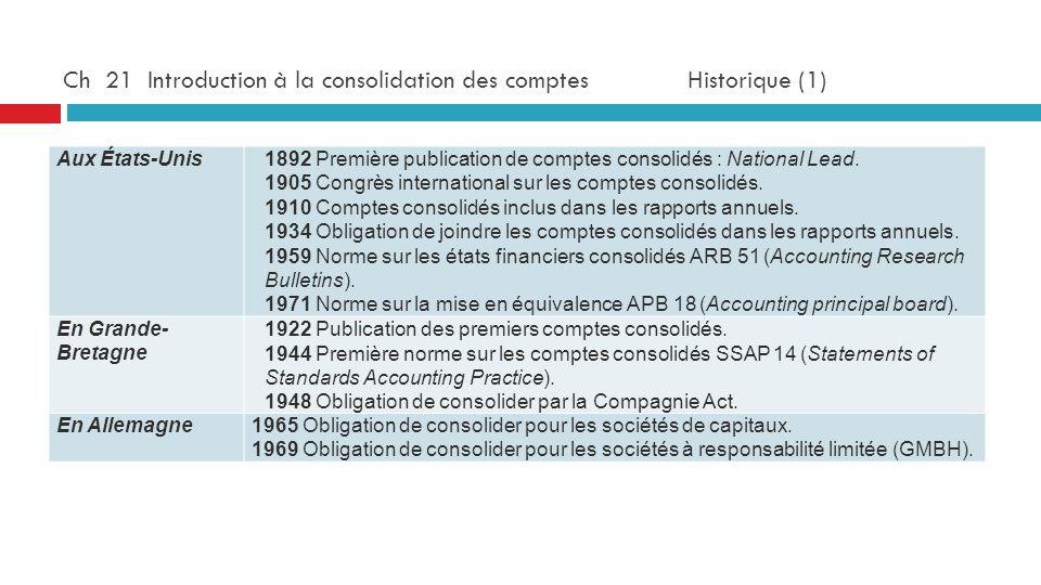 Ch 21 Introduction à la consolidation des comptes Historique (1) Aux États-Unis1892 Première publication de comptes consolidés : National Lead. 1905 C