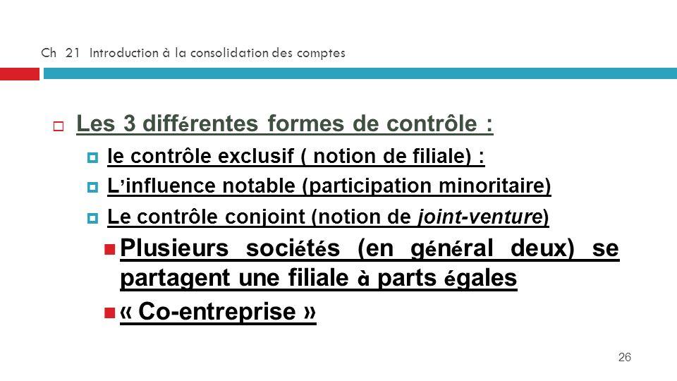 26 Ch 21 Introduction à la consolidation des comptes Les 3 diff é rentes formes de contrôle : le contrôle exclusif ( notion de filiale) : L influence