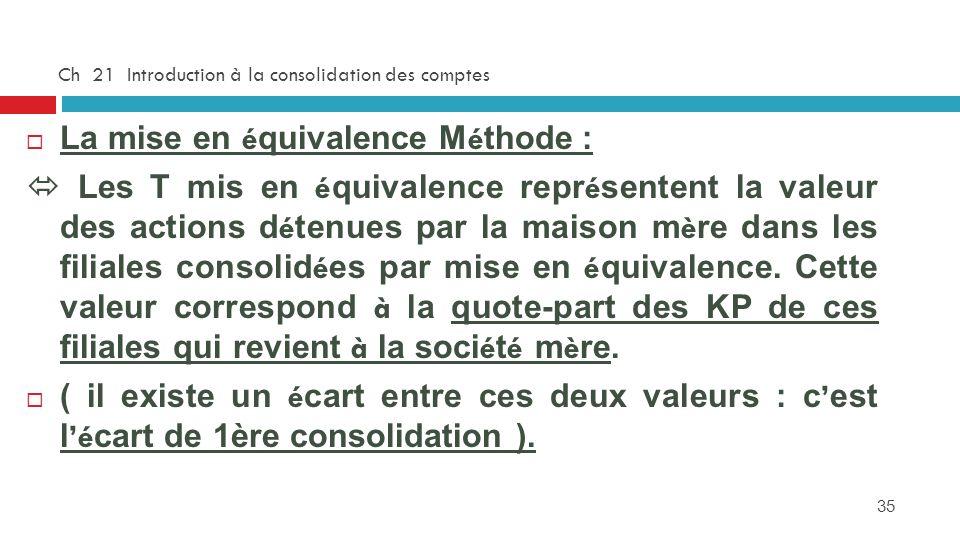 35 Ch 21 Introduction à la consolidation des comptes La mise en é quivalence M é thode : Les T mis en é quivalence repr é sentent la valeur des action