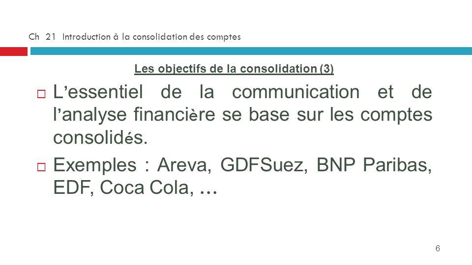 6 Ch 21 Introduction à la consolidation des comptes Les objectifs de la consolidation (3) L essentiel de la communication et de l analyse financi è re