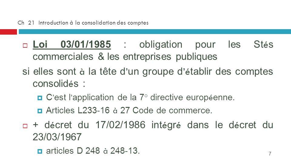 7 Ch 21 Introduction à la consolidation des comptes Loi 03/01/1985 : obligation pour les St é s commerciales & les entreprises publiques si elles sont