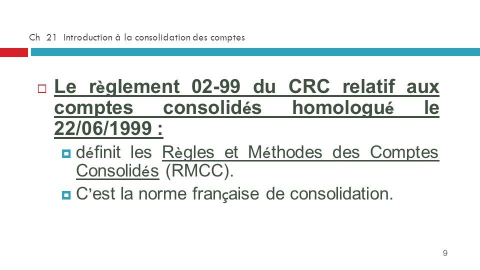 9 Ch 21 Introduction à la consolidation des comptes Le r è glement 02-99 du CRC relatif aux comptes consolid é s homologu é le 22/06/1999 : d é finit