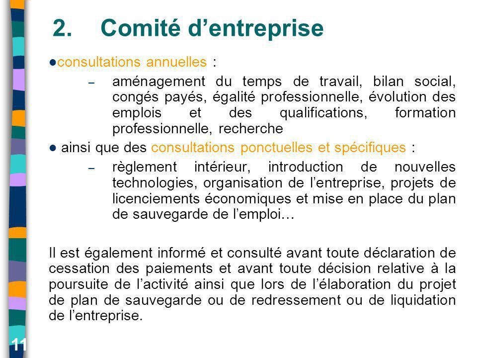 11 2.Comité dentreprise consultations annuelles : – aménagement du temps de travail, bilan social, congés payés, égalité professionnelle, évolution de